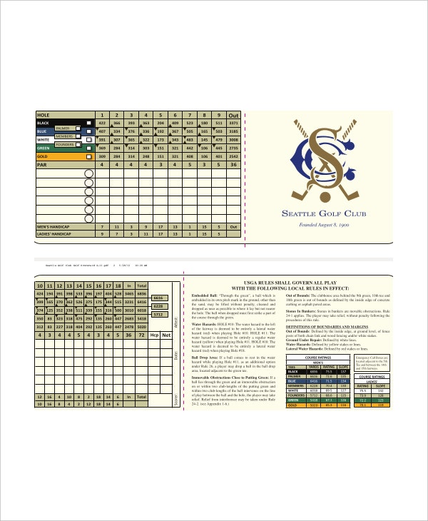 sample seattle golf club and scorecard