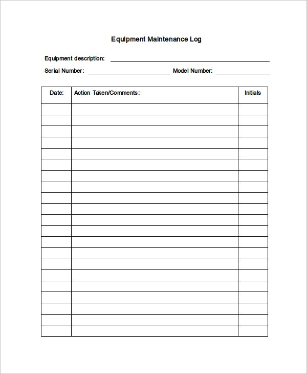 maintenance log template 11 free word excel pdf documents