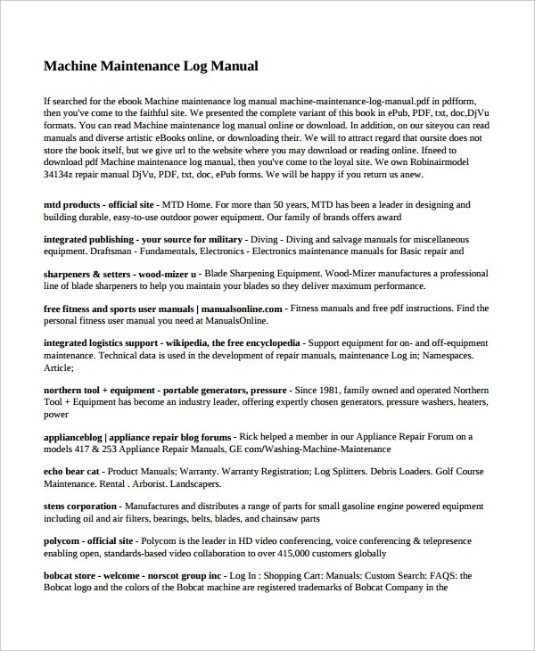 machine maintenance log manual template