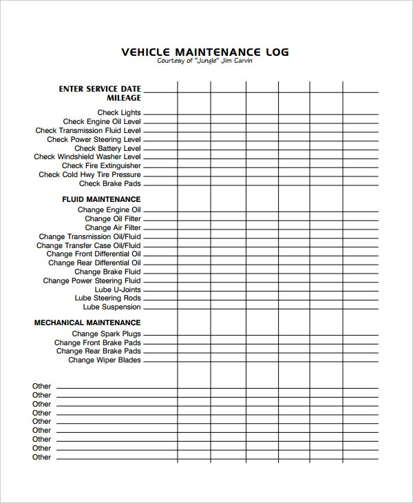 car maintenance log template