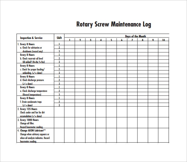 rotary screw maintenance log template