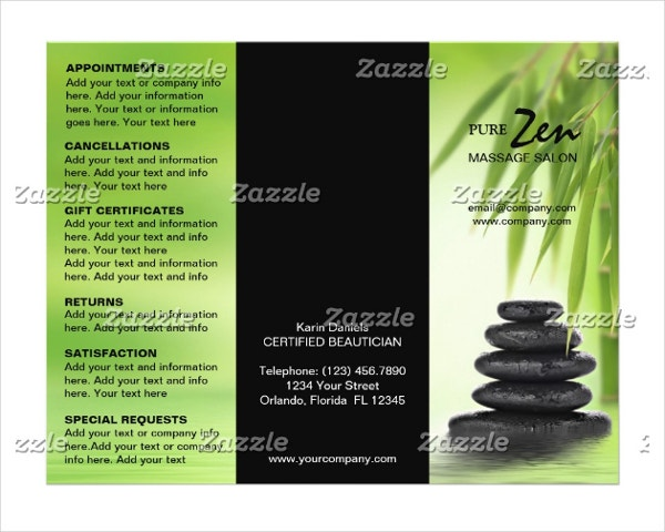 massage salon service menu brochure template