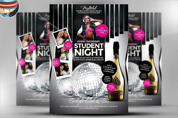 student night psd flyer template
