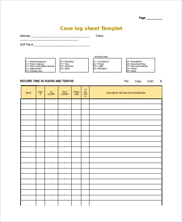 blank case log sheet template