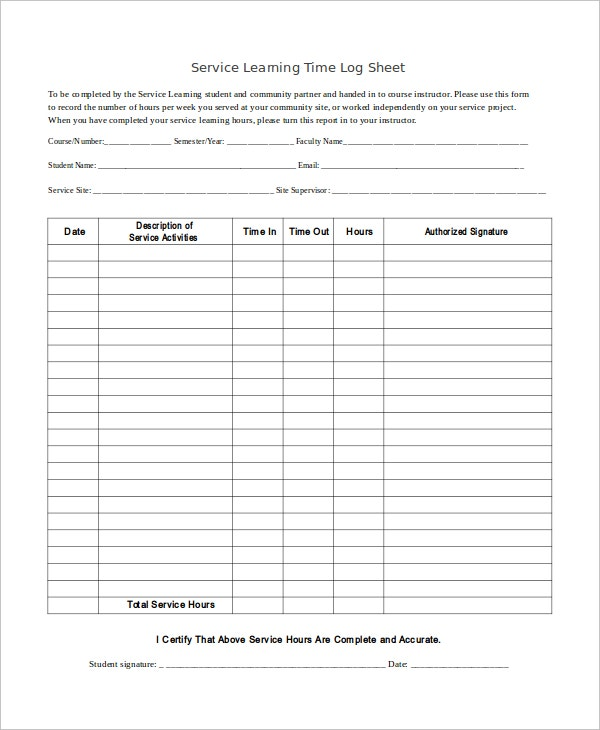 Service Learning Time Log Sheet Template