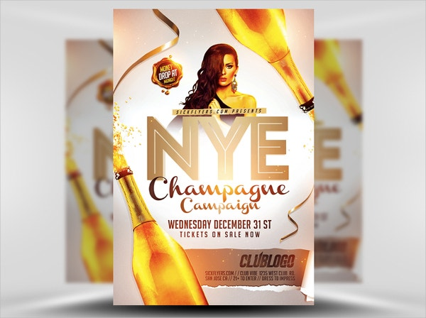 champagne event campaign flyer template