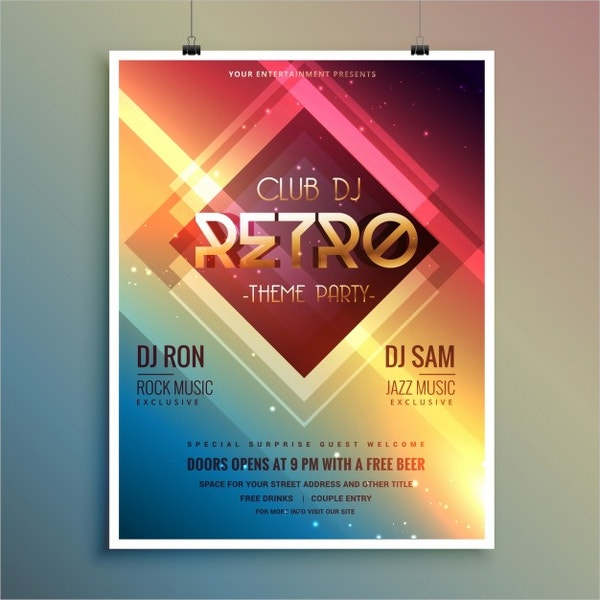 retro disco event party flyer