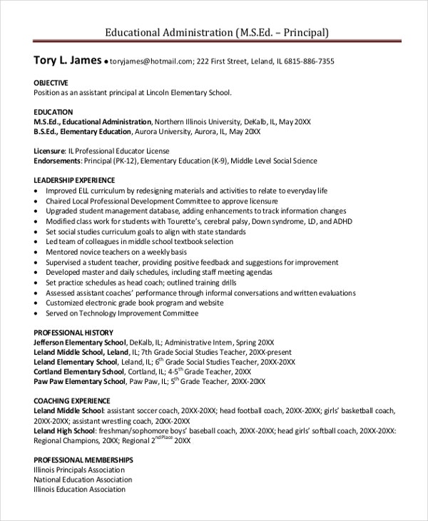 middle school principal resume objective