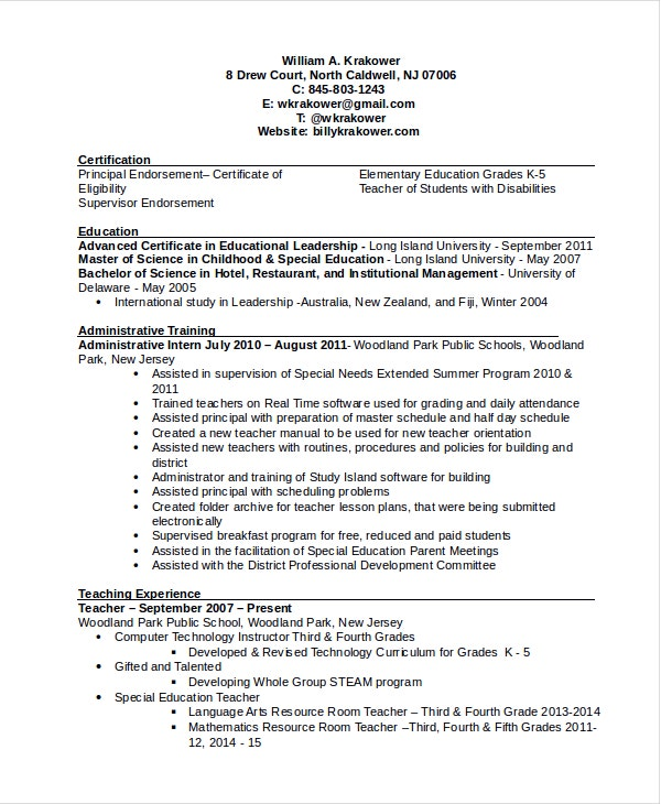principal resume templates word elementary high school samples