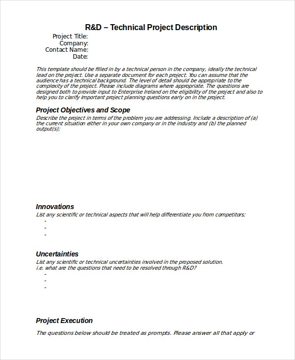 Technical Project Description Template