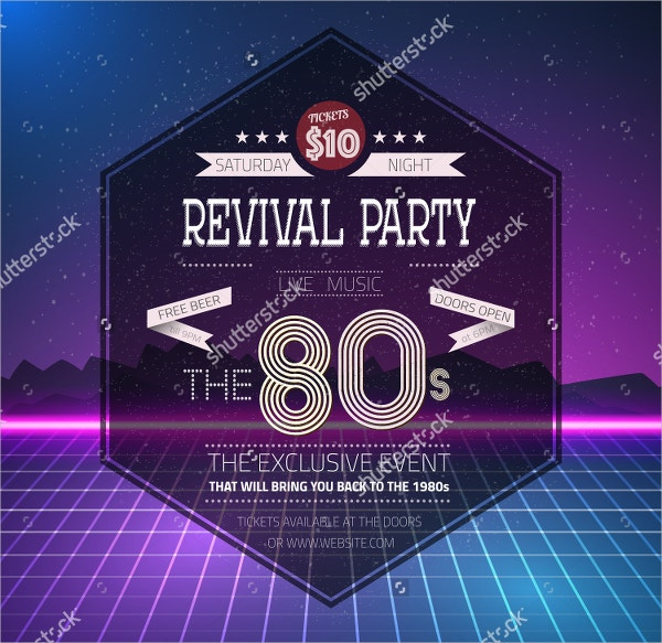 revival vintage party poster neon flyer