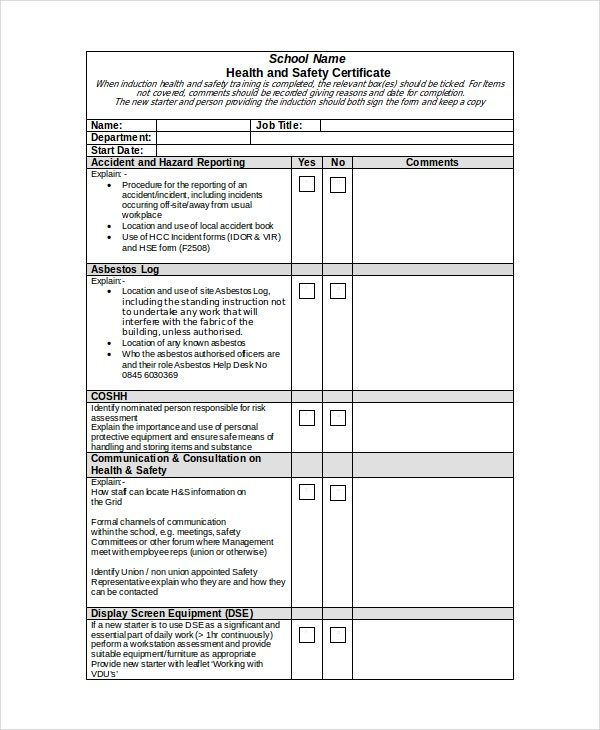 Safety certificate template 9 free word pdf document for Safety training matrix template