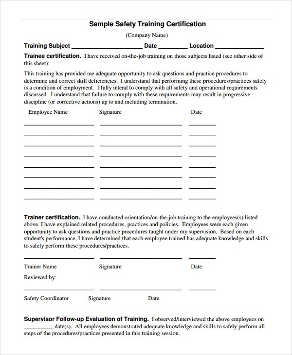 Safety Certificate Template   Free Word Pdf Document Downloads