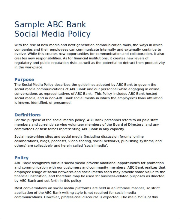 Bank Social Media Policy Template