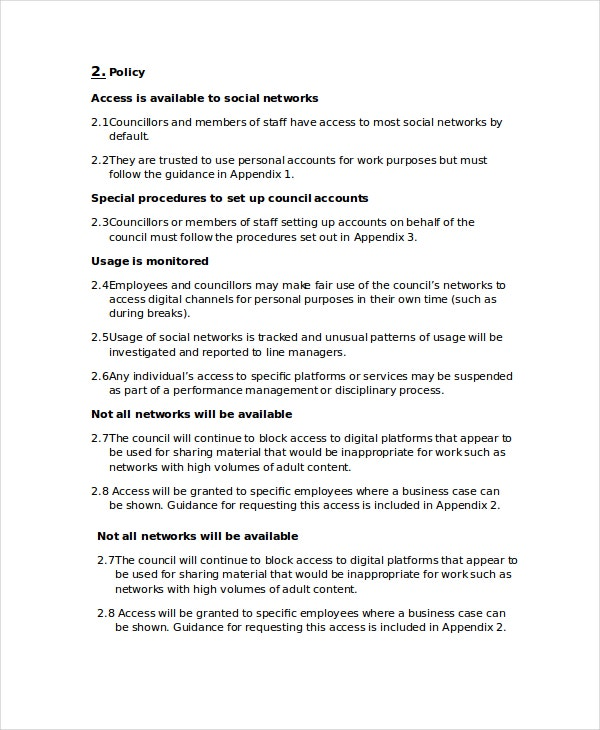 corporate social media policy template