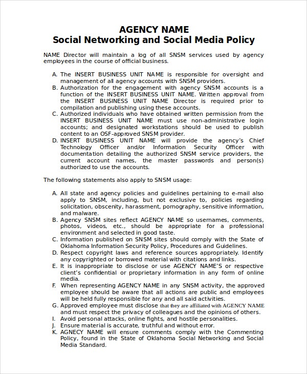 agency social media policy template