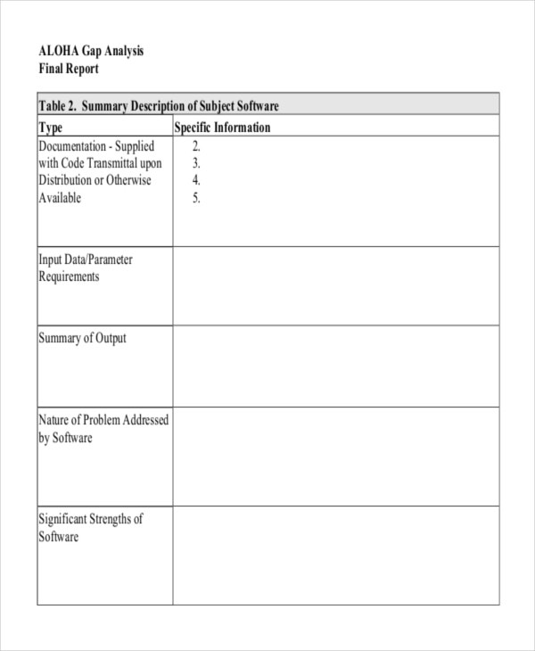 Gap Analysis Template for software