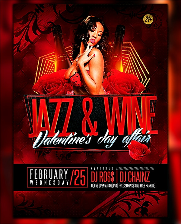 Jazz and Wine Party Flyer