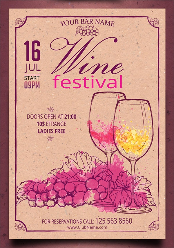 Retro Vintage Wine Flyer