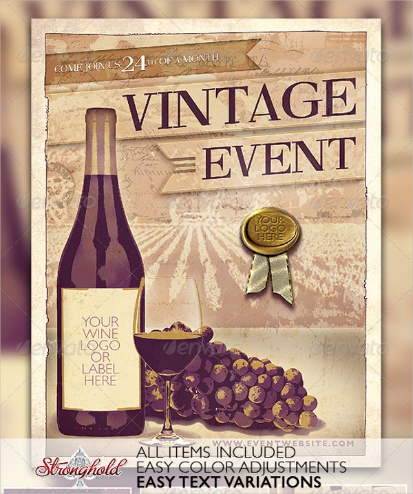 vintage wine flyer template