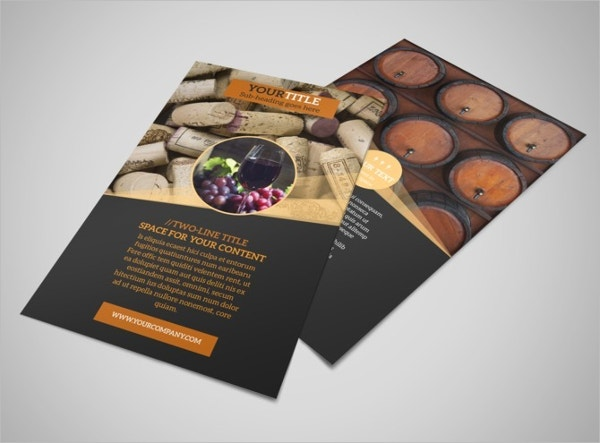 21 wine flyer free psd ai eps format download free for Wine brochure template