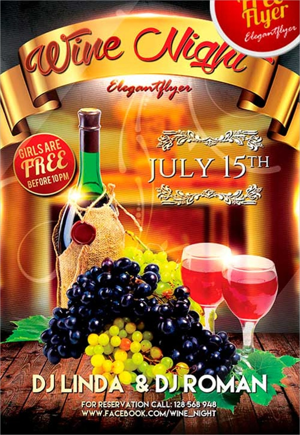 free wine fest night psd flyer