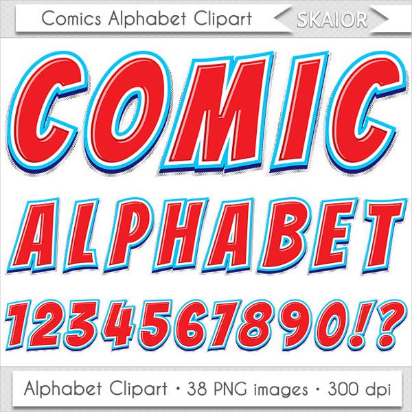 Alphabet Clipart Comic Font