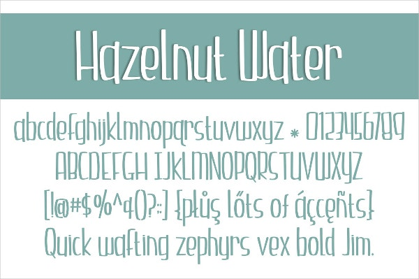 Hazelnut Water Comic Font