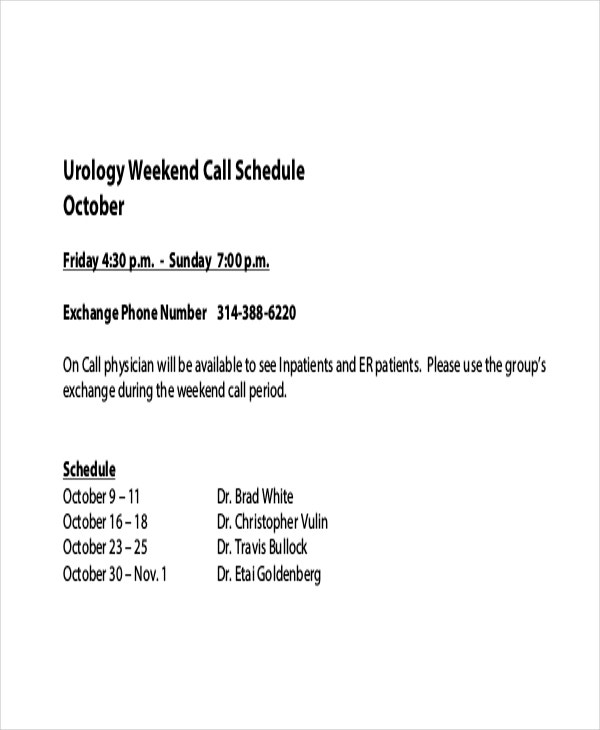 On Call Schedule Template 4 Free Excel Pdf Documents