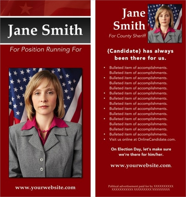 Red Striped Political Campaign Brochure