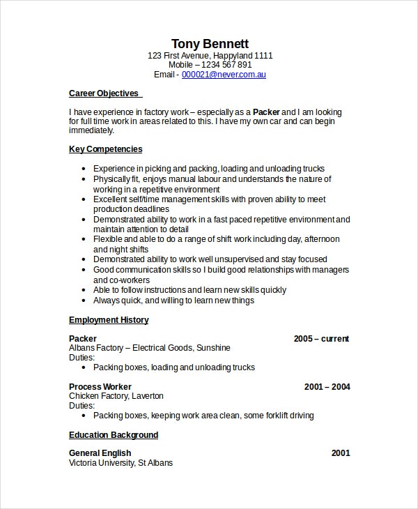Forklift Resume Sample