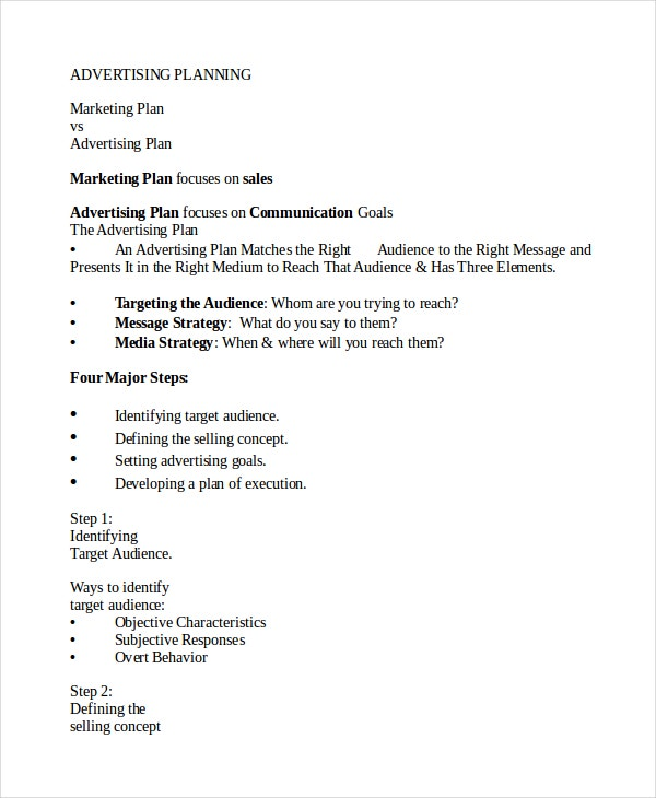 Advertising Plan Template - 6+ Free Word, Excel, Pdf Document