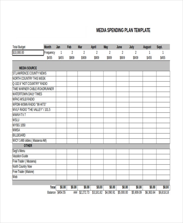 advertising media plan template advertising plan template 7 free word excel pdf