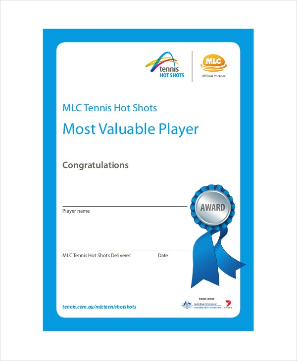 Most Valuable Player Certificate