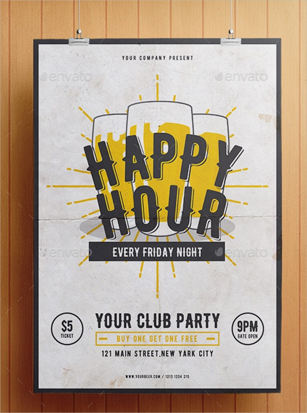 Club Party Happy Hour Flyer