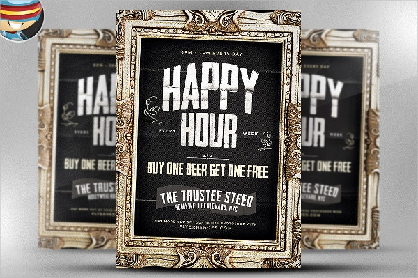 Framed Happy Hour PSD Flyer