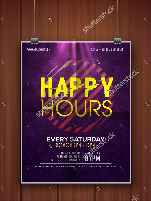 Shiny glossy elegant Happy Hours flyer