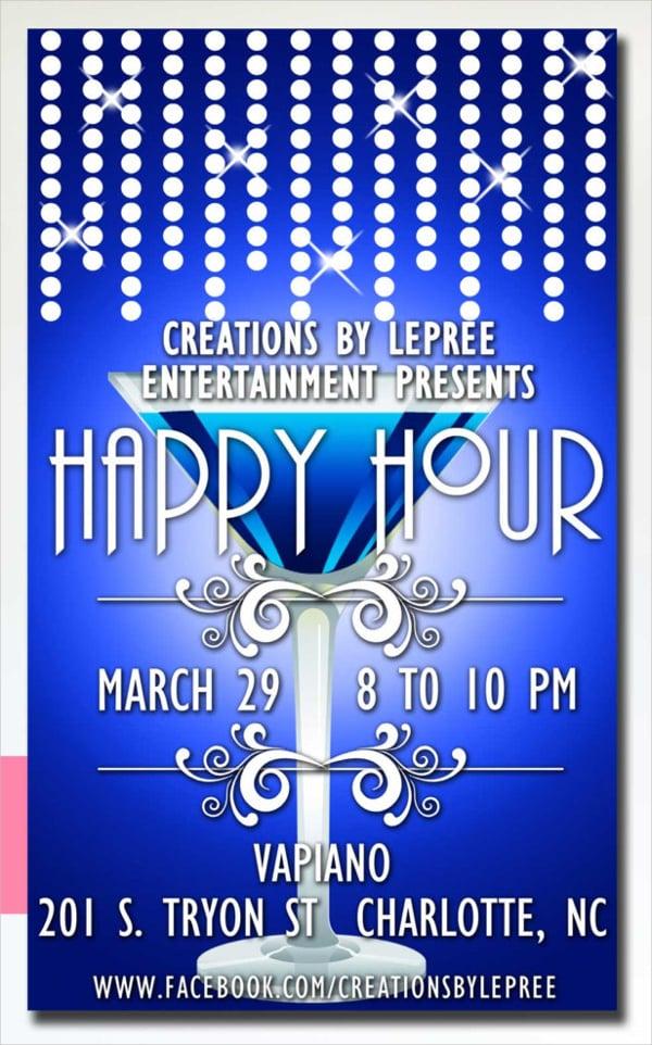 martini glass happy hour flyer