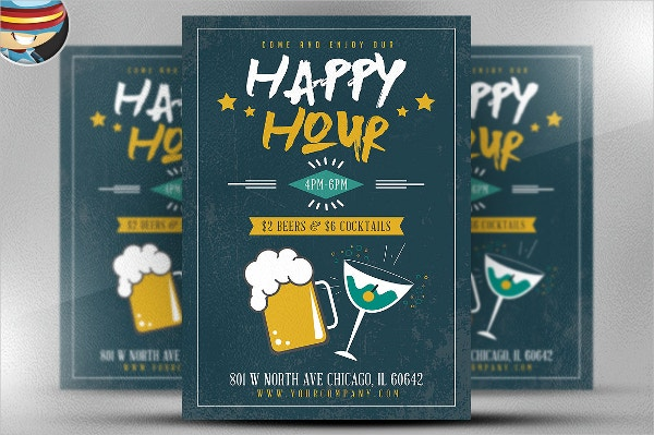 Simple Happy Hour Flyer Template