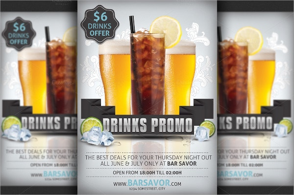 Drinks Happy Hour Promo Flyer Template