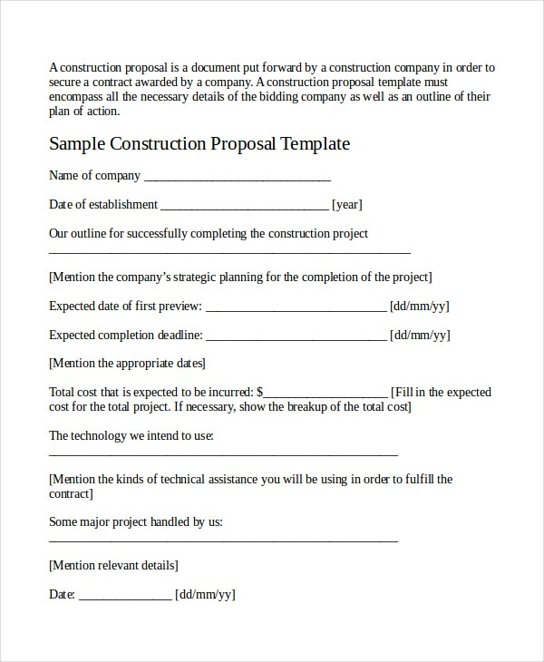 Doc Construction Work Proposal Template Construction Bid Form – Construction Work Proposal Template