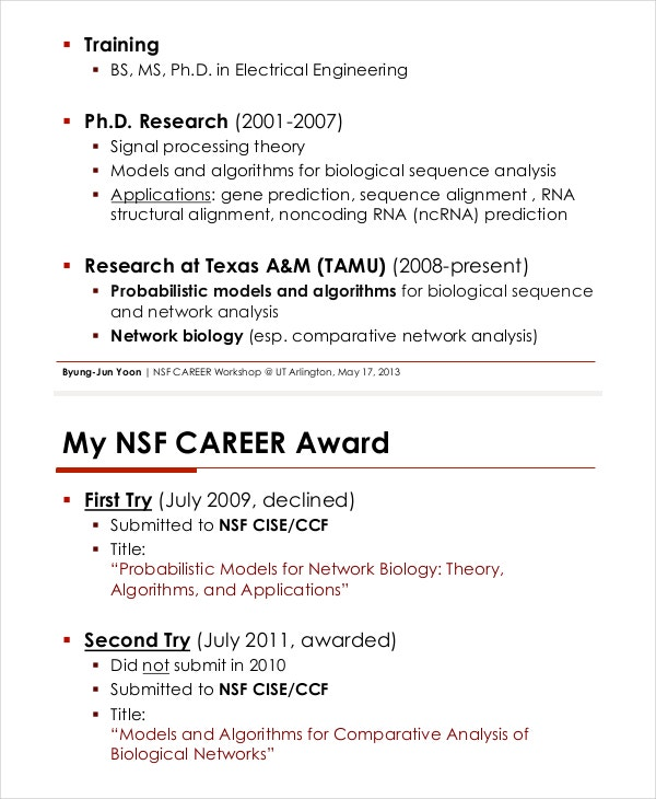 NSF Career Proposal  Employment Proposal Templates