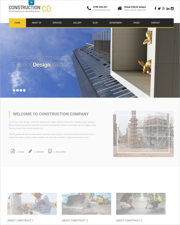 Premium Professional Contractor WordPress Website Theme