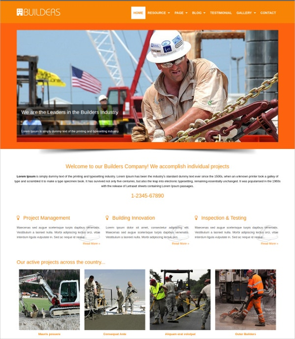 Builders Contractor WordPress Website Theme