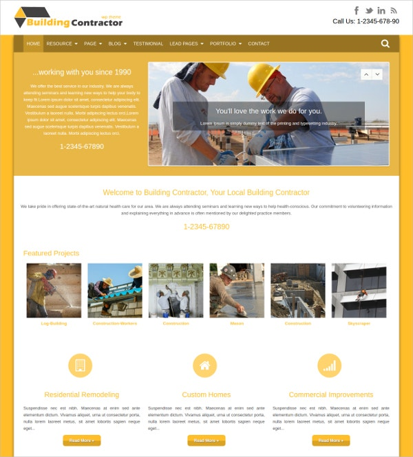 Building Contractor WordPress Website Theme