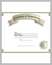 Certificate template 826 free word pdf psd eps format download when you are a memorabilia collector and sells genuine items online then you can apply the certificate of authenticity template that can prove that an item yelopaper Choice Image