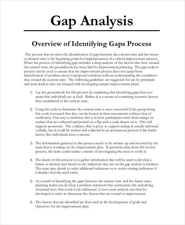 gap analysis explained template