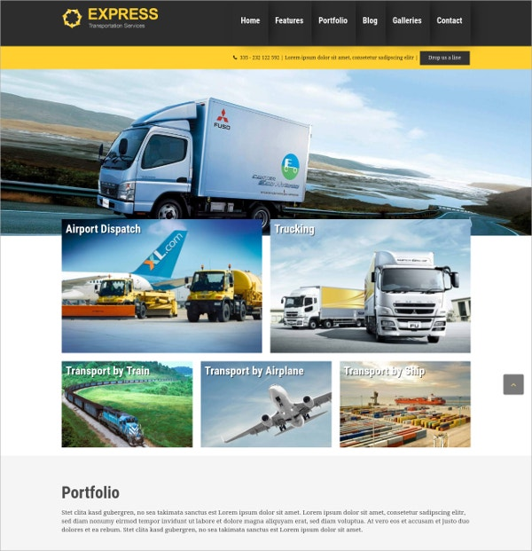 Transportation Express WordPress Theme $70