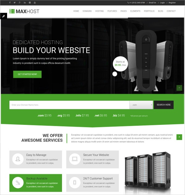 Web Hosting, Corporate & Business WordPress Theme $49