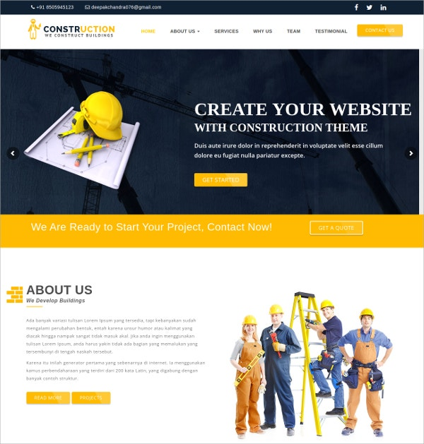 Construction WordPress Theme $49